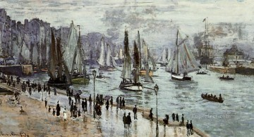 boat art painting - Fishing Boats Leaving the Port of Le Havre Claude Monet