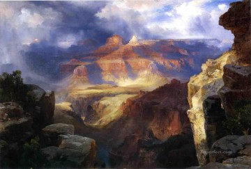 Nature Painting - A Miracle of Nature Rocky Mountains School Thomas Moran