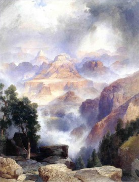 A Showrey Day Grand Canyon Rocky Mountains School Thomas Moran Oil Paintings