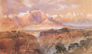 Cliffs Painting - Cliffs of the Rio Virgin South Utah Rocky Mountains School Thomas Moran