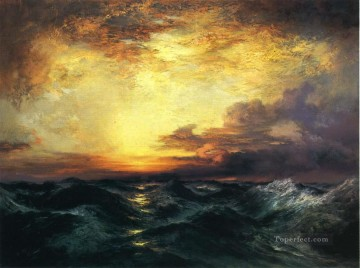 Sun Oil Painting - Pacific Sunset seascape School Thomas Moran