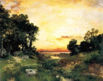 Sunset Long Island Sound Rocky Mountains School Thomas Moran Oil Paintings