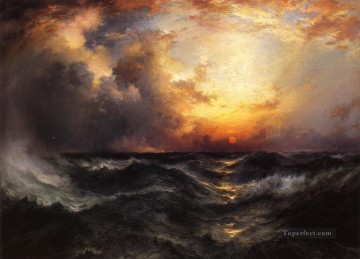 Sun Oil Painting - Sunset in Mid Ocean seascape Thomas Moran