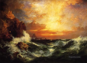 Sun Oil Painting - Sunset near Lands End Cornwall England seascape Thomas Moran