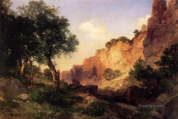 trail Oil Painting - The Grand Canyon Hance Trail Rocky Mountains School Thomas Moran