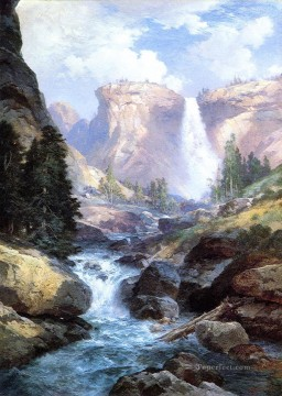 waterfall Painting - Waterfall in Yosemite2 Rocky Mountains School Thomas Moran