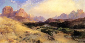 Zion Valley South Utah Rocky Mountains School Thomas Moran Oil Paintings