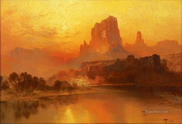 Artworks by 350 Famous Artists Painting - sunset mountains landscape Thomas Moran