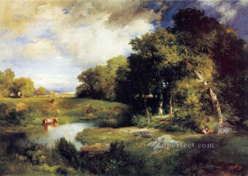 Pastoral Oil Painting - A Pastoral Landscape Rocky Mountains School Thomas Moran
