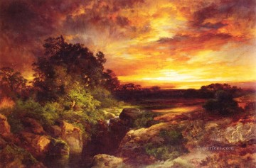 An Arizona Sunset Near the Grand Canyon Rocky Mountains School Thomas Moran Oil Paintings