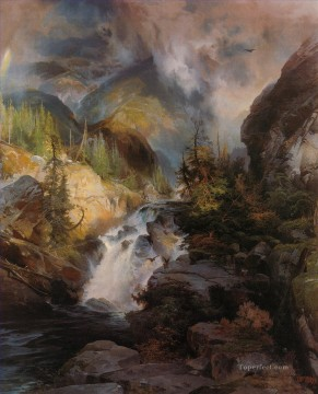 Children of the Mountain Rocky Mountains School Thomas Moran Oil Paintings