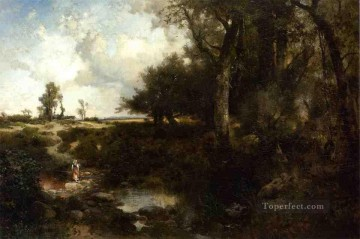 Crossing the Brook Near Plainfield New Jersey Rocky Mountains School Thomas Moran Oil Paintings