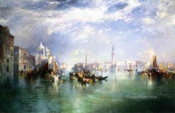 outdoor landscape landscapes scenery scenes impasto kinkade venice seascape street Painting - Entrance to the Grand Canal Venice seascape boat Thomas Moran
