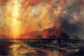 Fiercely the Red Sun Descending Burned His Way across the Heavens Rocky Mountains School Thomas Moran Oil Paintings