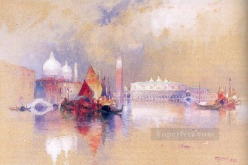 seascape mediterranean sea venice boat ship waterscape Painting - View of Venice boat Thomas Moran