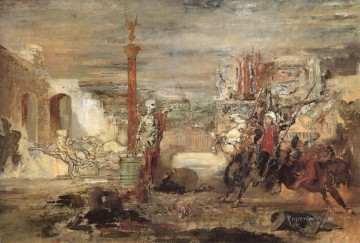 Death Offers Crowns to Winner of the Tournament Symbolism Gustave Moreau Oil Paintings
