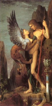 mythological Painting - Oedipus and the Sphinx Symbolism biblical mythological Gustave Moreau