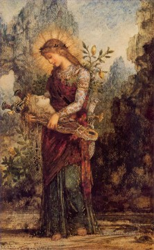 symbolism Painting - Thracian Girl Carrying the Head of Orpheus 1864 Symbolism Gustave Moreau