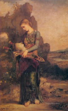 symbolism Painting - Thracian girl carrying the head of Orpheus on his lyre 1865 Symbolism Gustave Moreau