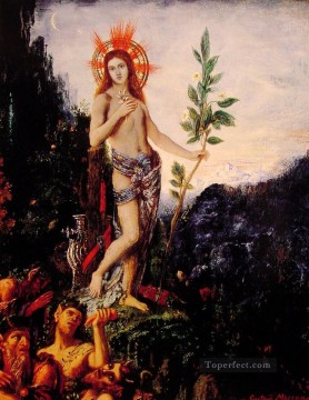 mythological Painting - apollo and the satyrs Symbolism biblical mythological Gustave Moreau