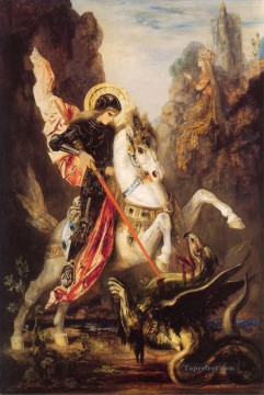 mythological Painting - st george Symbolism biblical mythological Gustave Moreau