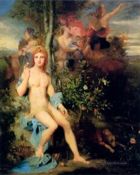 muses Painting - Apollo and the Nine Muses Symbolism biblical mythological Gustave Moreau