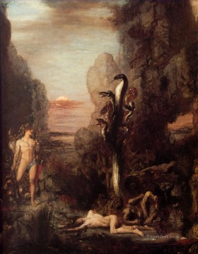 symbolism Painting - Moreau Hercules and the Hydra Symbolism biblical mythological Gustave Moreau