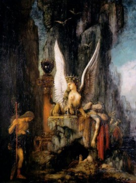 Oedipus the Wayfarer Symbolism biblical mythological Gustave Moreau Oil Paintings