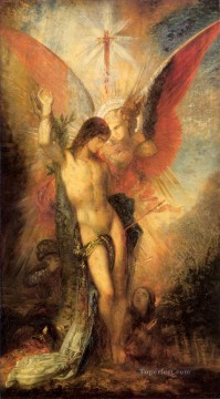 St Sebastian and the Angel Symbolism biblical mythological Gustave Moreau Oil Paintings