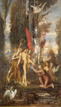 muses Painting - Hesiod and the Muses Symbolism biblical mythological Gustave Moreau