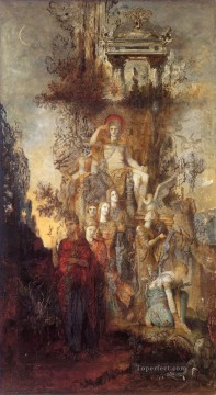 muses Painting - The Muses Leaving Their Father Apollo to Go Symbolism Gustave Moreau
