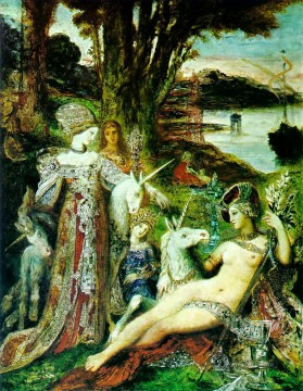 mythological Painting - the unicorns Symbolism biblical mythological Gustave Moreau