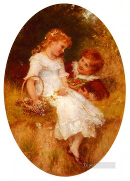Frederick Morgan Painting - Childhood Sweethearts rural family Frederick E Morgan