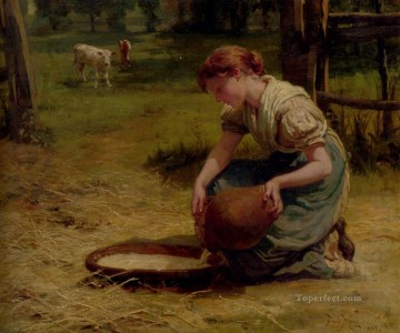 Milk For The Calves rural family Frederick E Morgan Oil Paintings