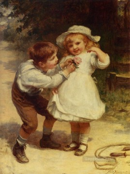 Frederick Morgan Painting - Sweethearts rural family Frederick E Morgan