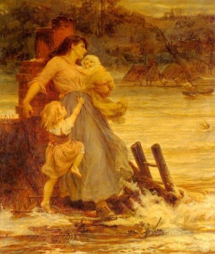 Frederick Morgan Painting - A Flood rural family Frederick E Morgan