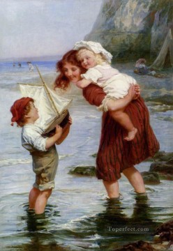 Frederick Morgan Painting - At Scarborough rural family Frederick E Morgan