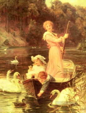 Frederick Morgan Painting - A Day On The River rural family Frederick E Morgan