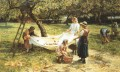 An Apple gathering rural family Frederick E Morgan