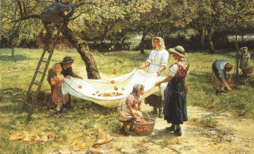 Family Painting - An Apple gathering rural family Frederick E Morgan