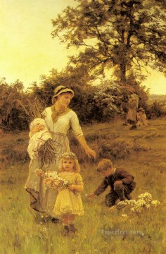 Frederick Morgan Painting - The Garland rural family Frederick E Morgan
