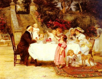 Frederick Morgan Painting - His First Birthday rural family Frederick E Morgan
