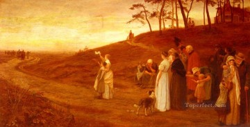 Frederick Morgan Painting - The Emigrants Departure rural family Frederick E Morgan