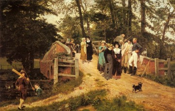 The School Belles rural family Frederick E Morgan Oil Paintings