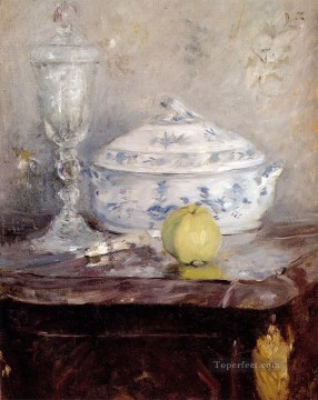 Berthe Morisot Painting - Tureen And Apple still life Berthe Morisot