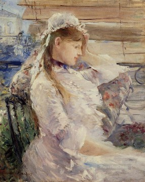 Berthe Morisot Painting - Behind the Blinds Berthe Morisot