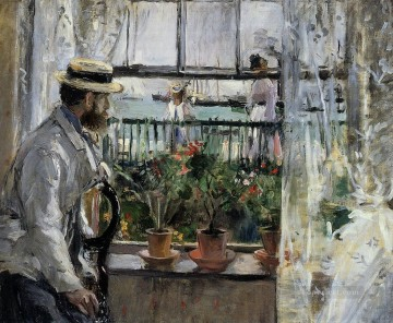 Berthe Morisot Painting - Eugene Manet on the Isle of Wight Berthe Morisot