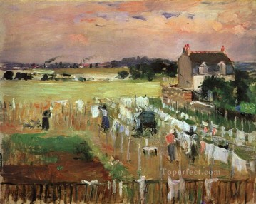 Berthe Morisot Painting - Hanging out the Laundry to Dry Berthe Morisot