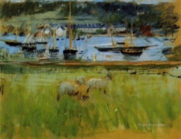 Berthe Morisot Painting - Harbor in the Port of Fecamp Berthe Morisot