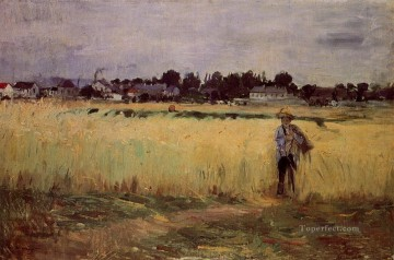 Berthe Morisot Painting - In the Wheat Fields at Gennevilliers Berthe Morisot
